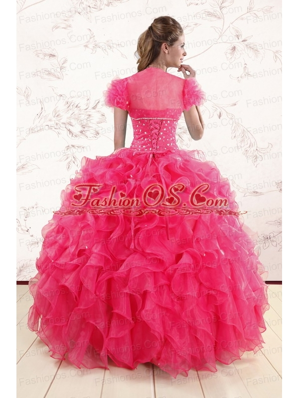 Hot Pink Ruffles and Beaded Wonderful Quinceanera Dresses for 2015