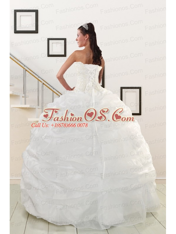 Pretty White Strapless 2015 Quinceanera Dresses with Beading