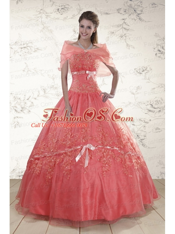 2015 Appliques Sweetheart Sweet 15 Dresses in Watermelon