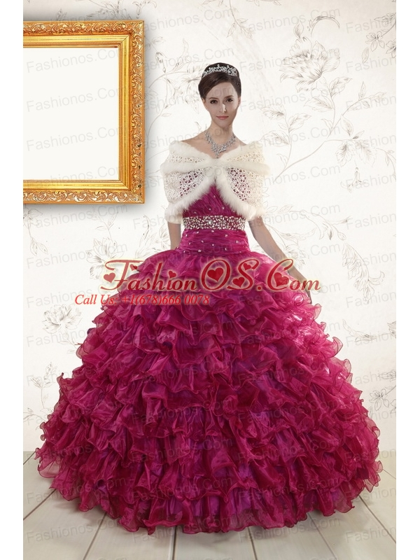 2015 Burgundy Quinceanera Gown with Beading and Ruffles