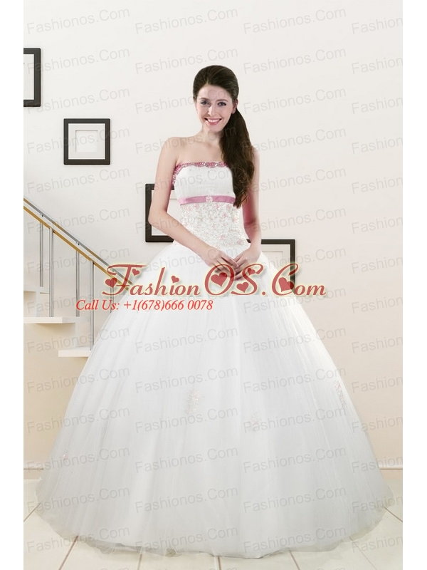 2015 Pretty Strapless Appliques and Belt Quinceanera Dresses in White