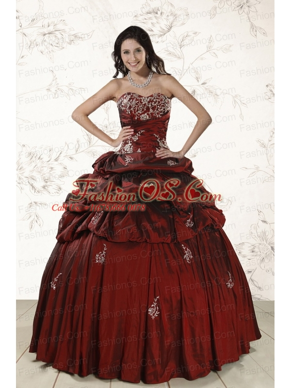 Appliques 2015 Wine Red Quinceanera Dresses with Lace Up