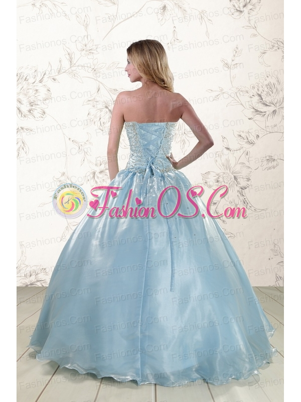 New Style 2015 Beading Sweet 15 Dresses with Strapless