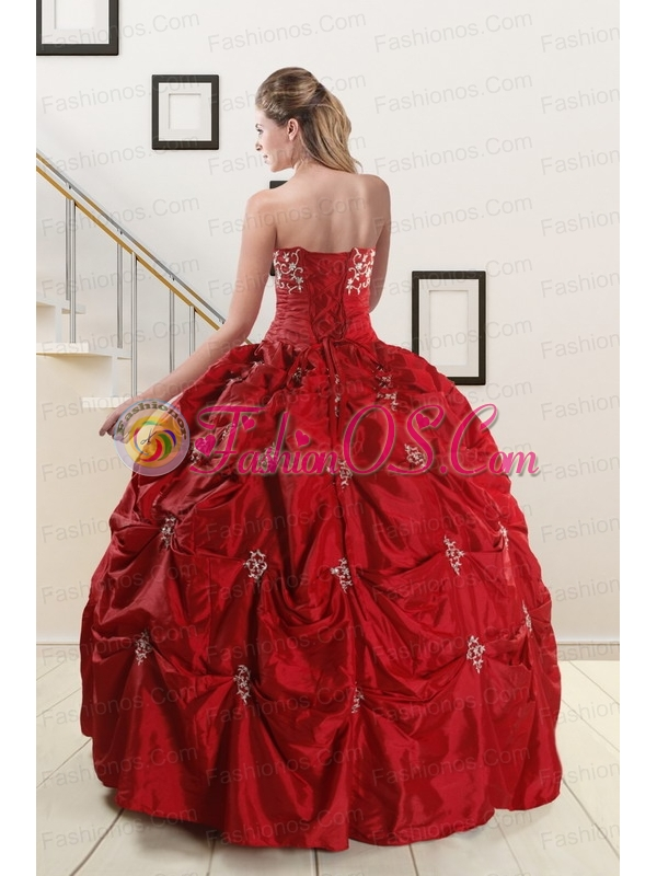 Pretty Strapless Wine Red Appliques Quinceanera Dresses for 2015