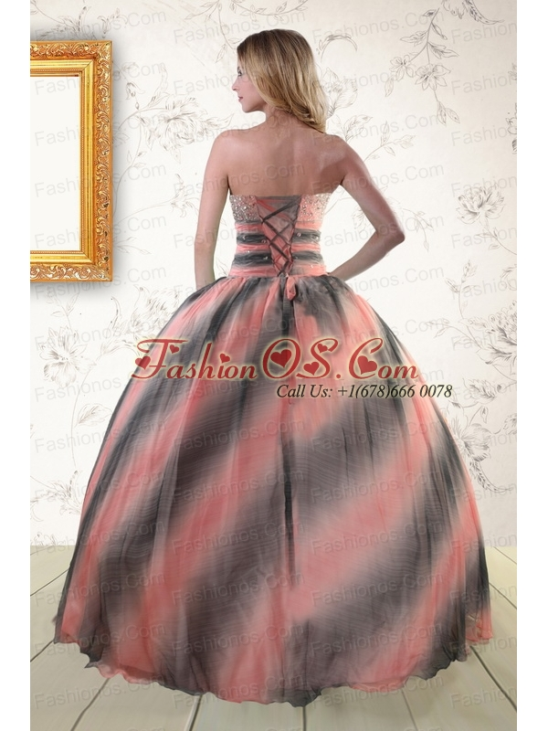 2015 Perfect Multi-color Dress For Quinceanera with Beading