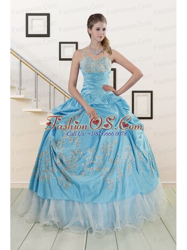 2015 Pretty One Shoulder Appliques and Beaded Quinceanera Dresses in Aqua Blue