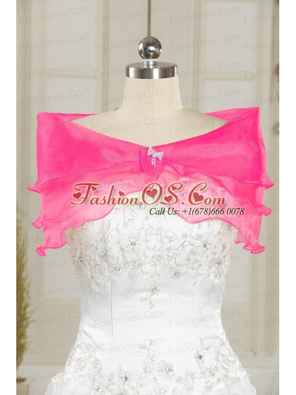 2015 Sweetheart Rose Pink Quinceanera Dresses with Sequins and Appliques