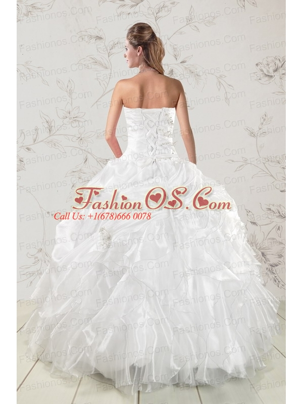 Classical Beading and Ruffles 2015 Quinceanera Dresses in White