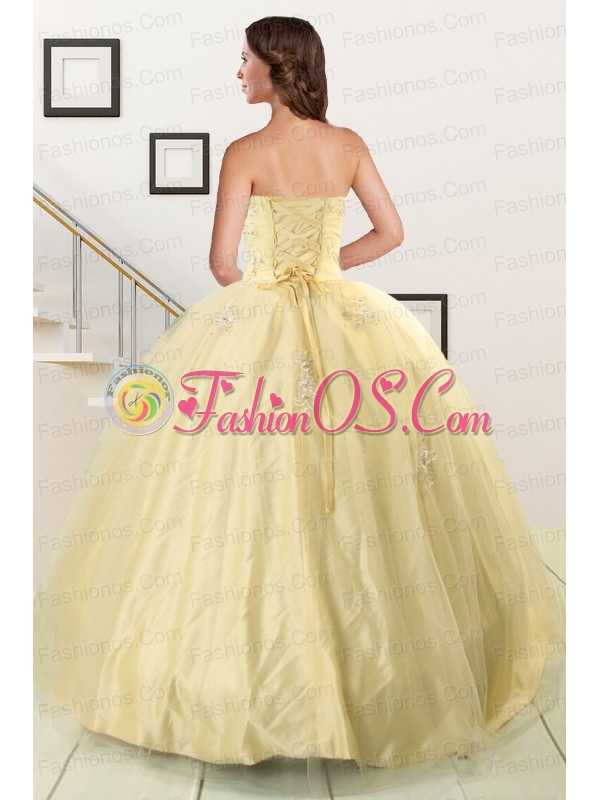 Latest Appliques Quinceanera Dress in Light Yellow For 2015