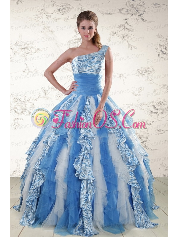 Multi Color One Shoulder Printed Quinceanera Dresses for 2015