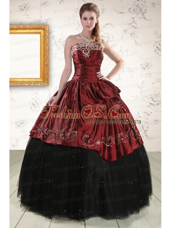 Pretty Ball Gown Embroidery 2015 Quinceanera Dresses in Wine Red and Black