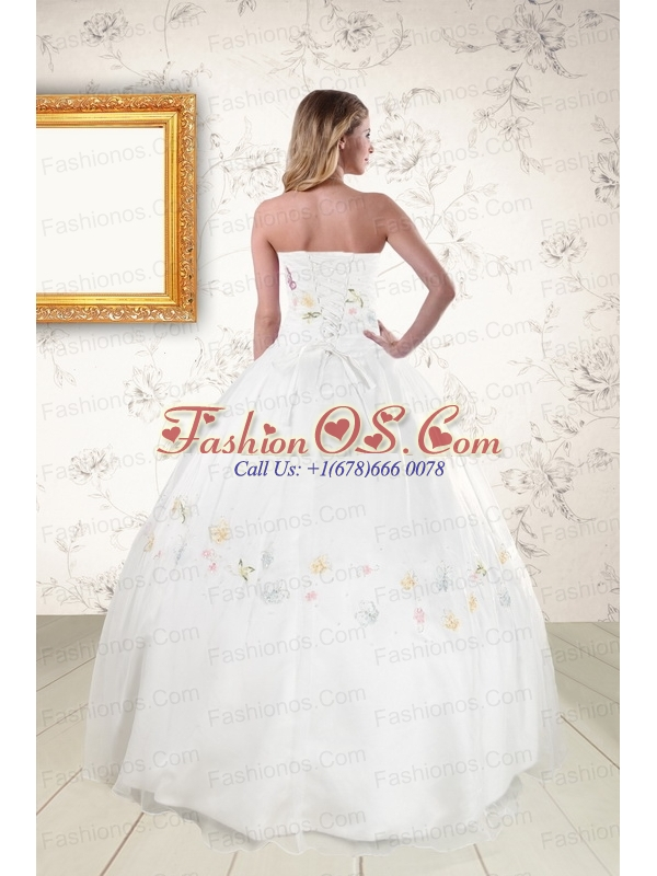 Pretty White Strapless Embroidery 2015 Sweet 16 Dresses