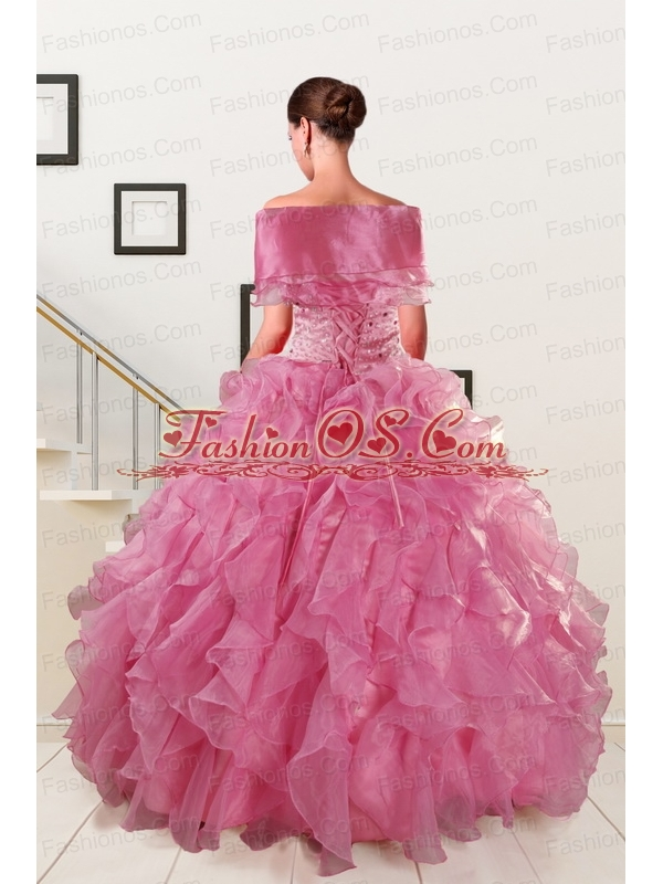 Pink 2015 Pretty Quinceanera Dresses Sweetheart with Ruffles