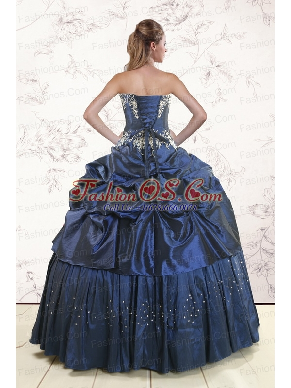 Embroidery and Pick Ups Cheap Quinceanera Dress in Navy Blue