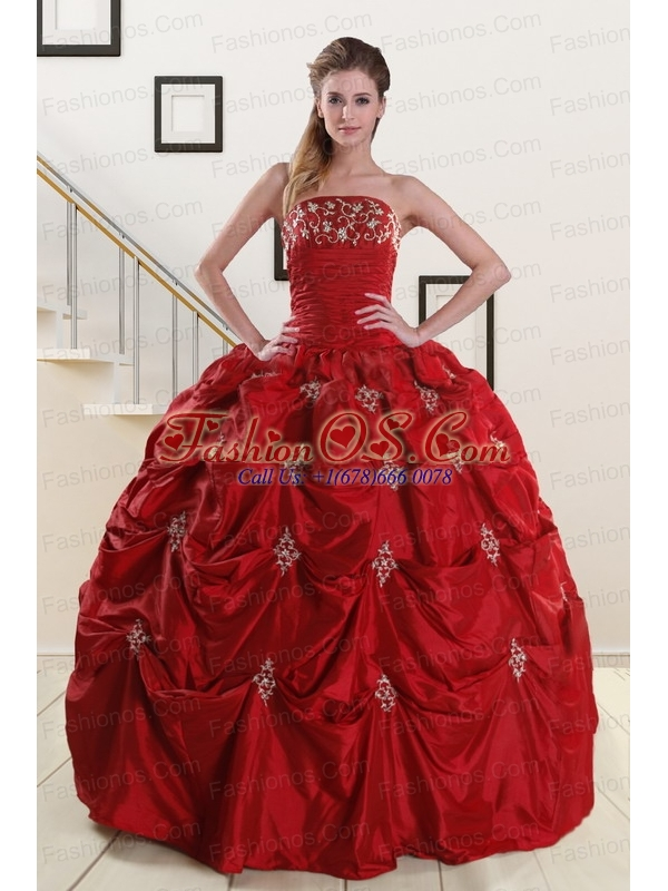Wine Red Strapless 2015 Quinceanera Dresses with Appliques