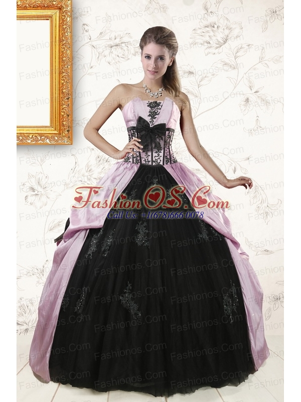 2015 Cheap Strapless Quinceanera Dresses with Appliques and Ruffles
