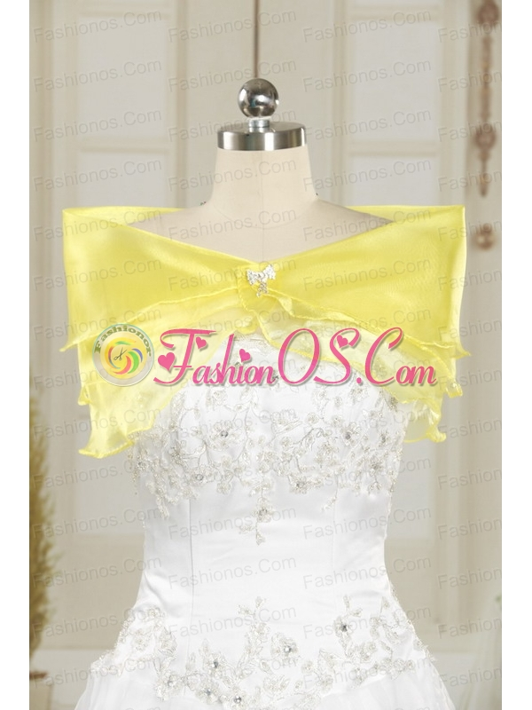 2015 Light Yellow Quinceanera Dress with Appliques and Ruffled Layers