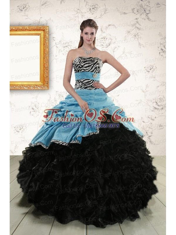 Luxurious Ruffles 2015   Quinceanera Dresses with Zebra   and Belt