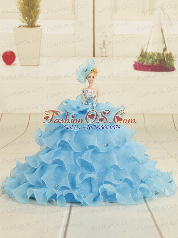 2015 Discount Baby Blue Strapless Quinceanera Dress with Beading