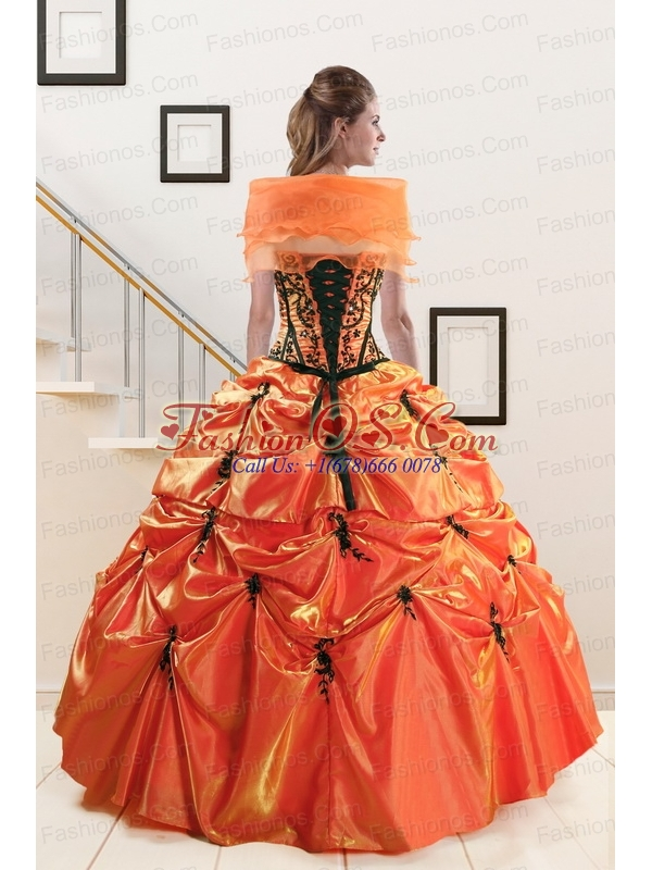 2015 Exclusive Appliques Quinceanera Dresses in Orange Red and Black