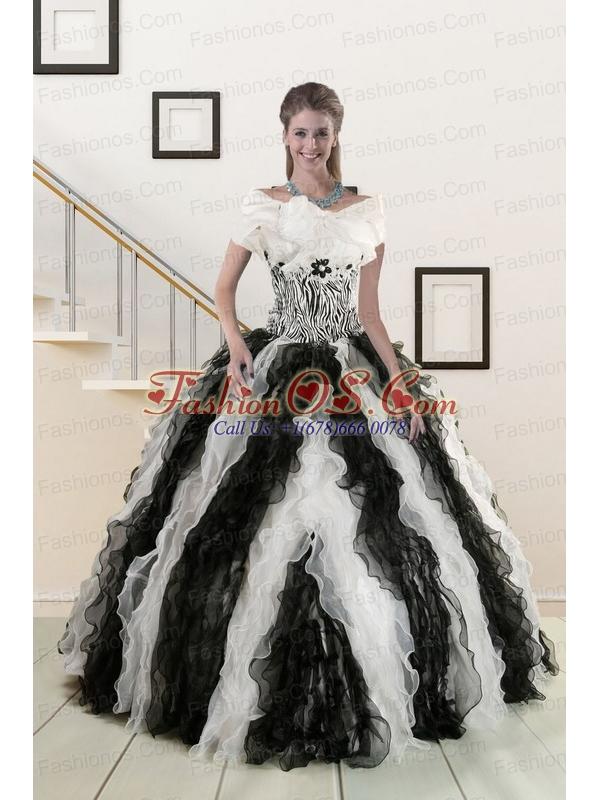 2015 Exclusive Black and White Quinceanera Dresses with Zebra and Ruffles