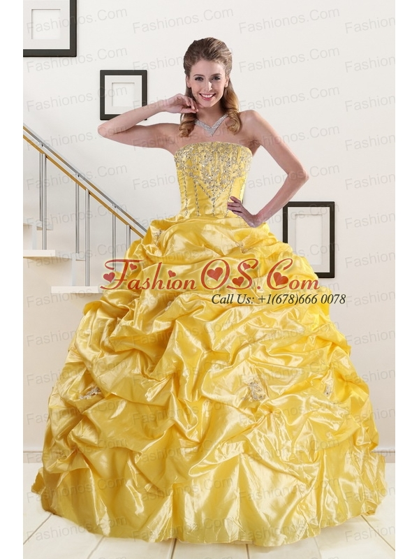 Beading Strapless 2015 Quinceanera Dresses with Sweep Train