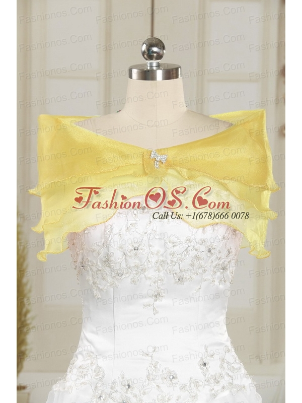 Romantic Yellow Sequined Quinceanera Dress with Strapless