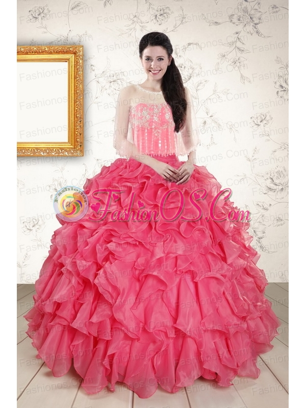 Strapless Beading and Ruffles 2015 Quinceanera Dresses in Hot Pink