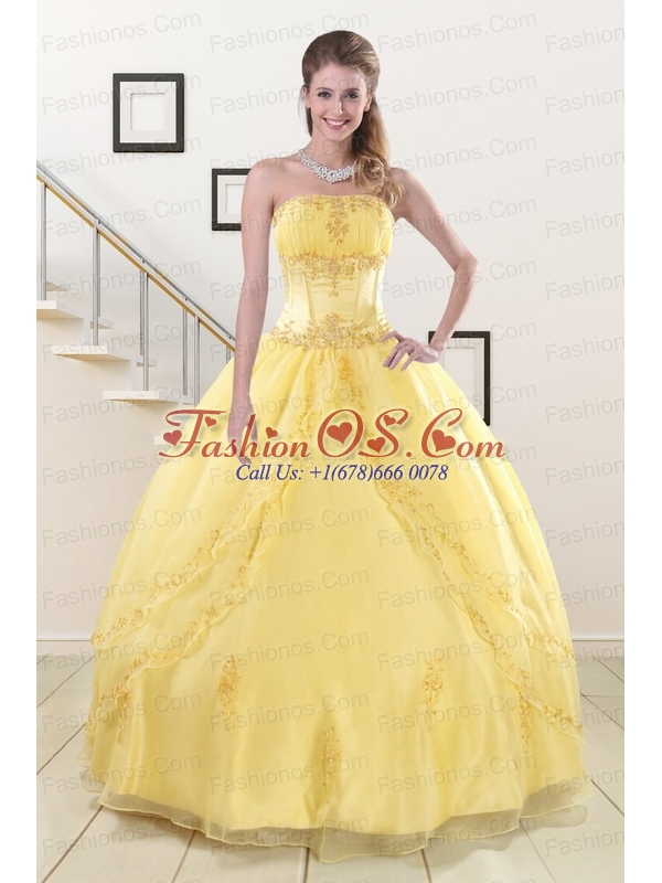 Wonderful Yellow 2015 Quinceanera Dresses with Strapless