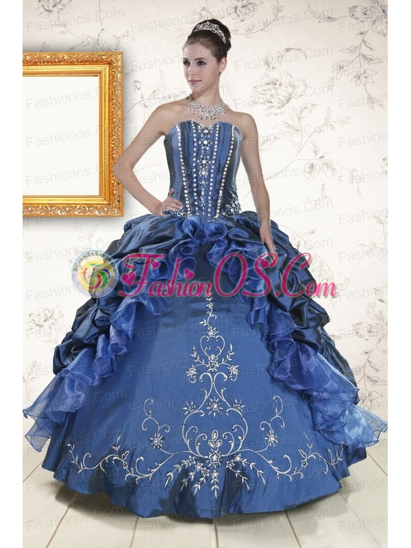 Classical Sweetheart Navy Blue Quinceanera Dresses with Beading