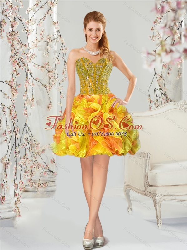 2015 Custom Made and Detachable Yellow and Orange Sweet 16 Dresses with Beading and Ruffles