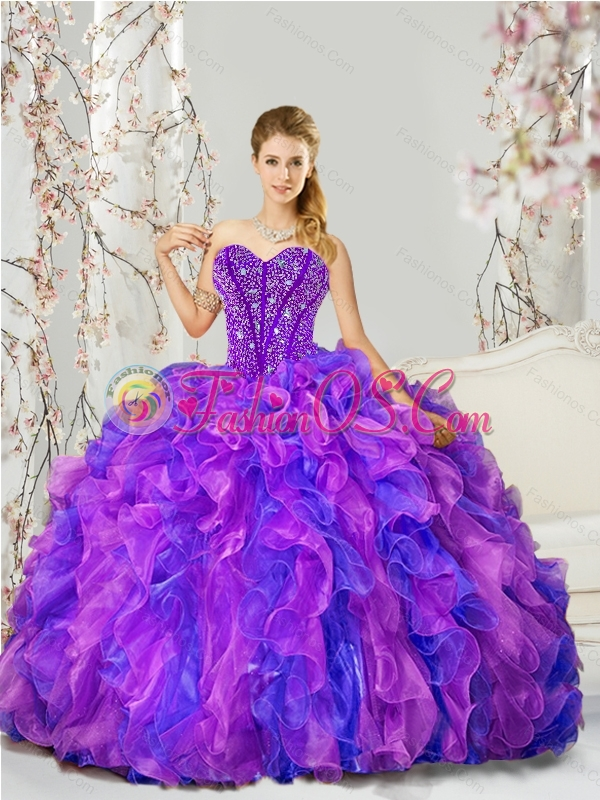 Custom Made and Detachable Blue and Lavender Dresses for Quince with Beading and Ruffles