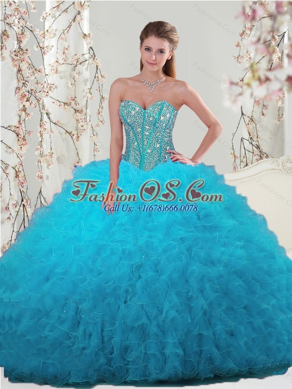 2015 Spring Pretty Beading and Ruffles Turquoise Dresses For Quince