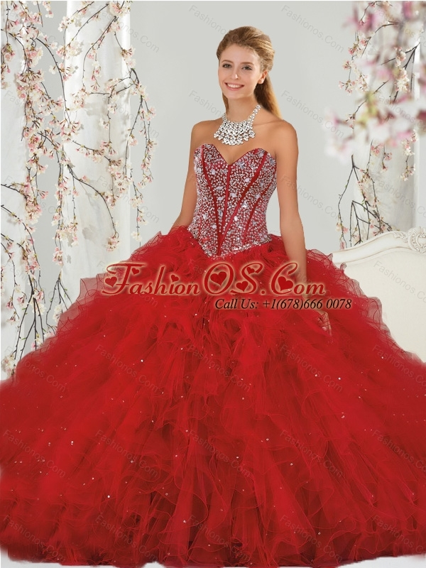 Pretty Beading and Ruffles Red Dresses for Quinceanera