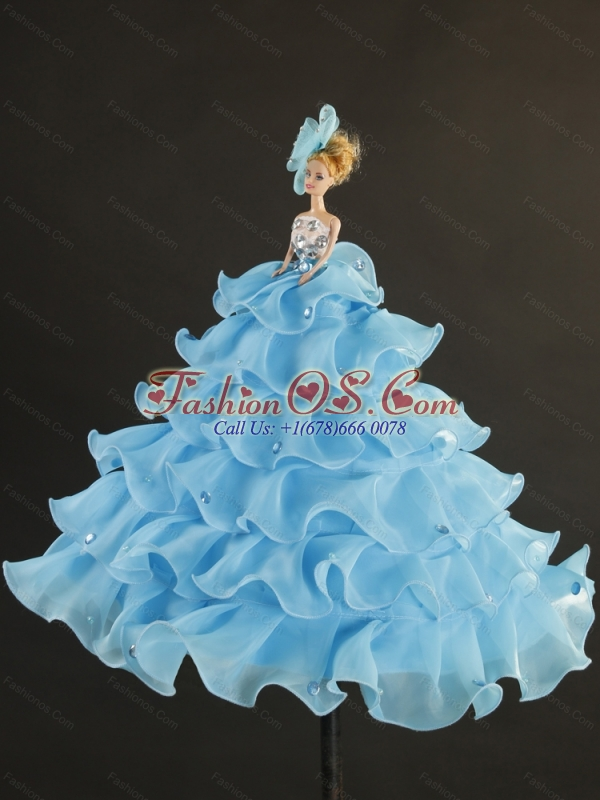 Pretty Beading and Ruffles Sweet 16 Dresses in Royal Blue for 2015