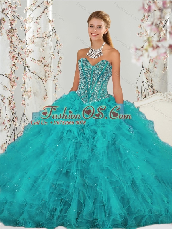 2015 Unique and Detachable Beading and Ruffles Sweet 15 Dresses in Turquoise