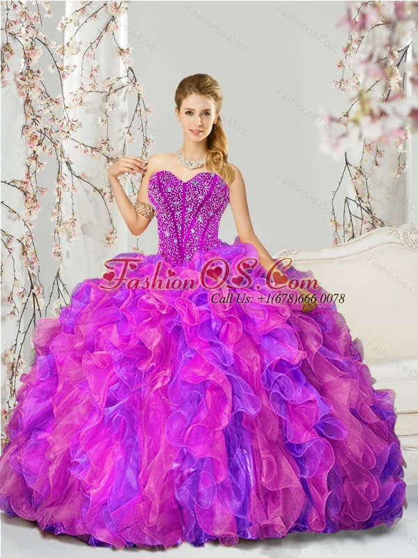 2015 Unique and Detachable Fuchsia and Lavender Quince Dresses with Beading and Ruffles
