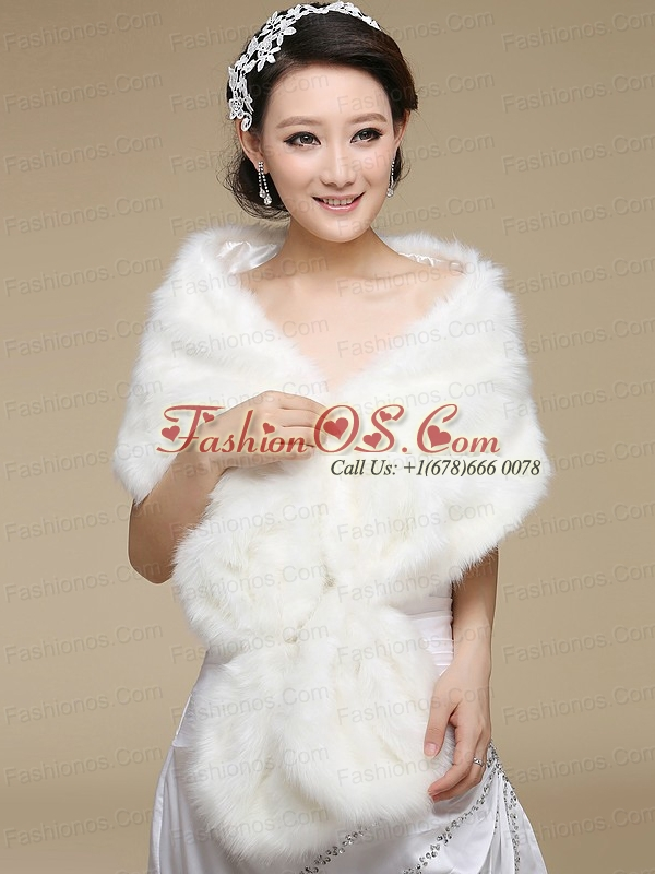 2015 White Faux Fur Wraps with Open Front
