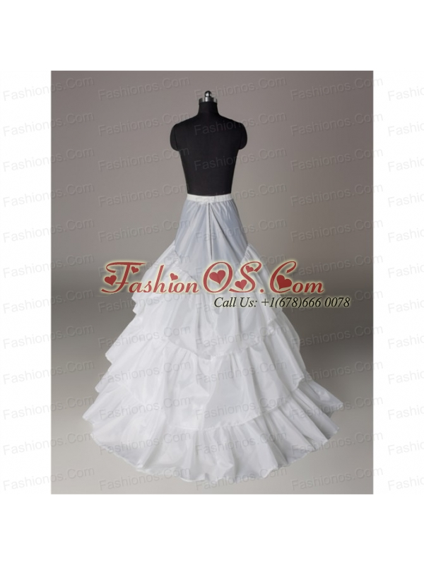 Unique Organza A Line Sweep Train White Petticoat