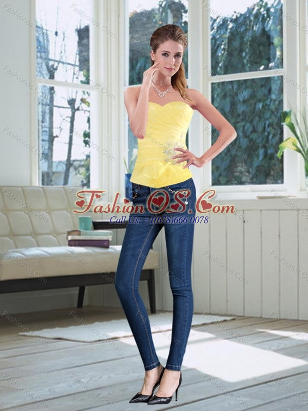 2015 Perfect Sweetheart Light Yellow Corset with Beading