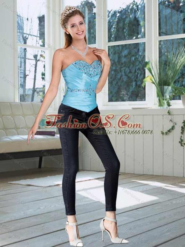 2015 New Style Sweetheart Baby Blue Corset with Beading