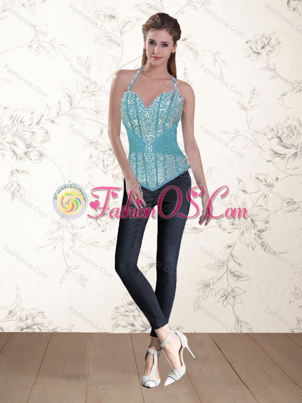 Exquisite Beading Ruffles 2015 Corset in Aqua Blue