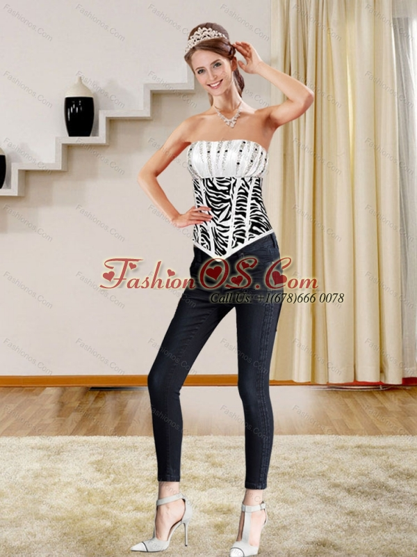 White and Black Ruffled and Beading Corset with Zebra Print