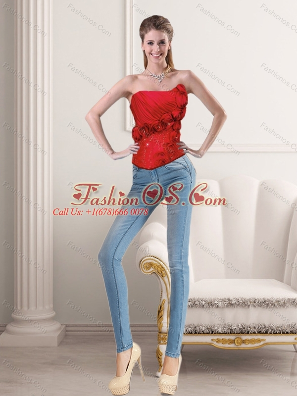 2015 New Style Red Strapless Corset with Beading and Hand Made Flower