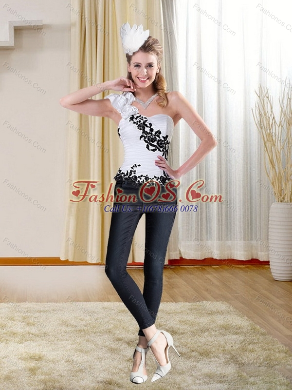 Black Embroidery Sweetheart White Corset with One Shoulder
