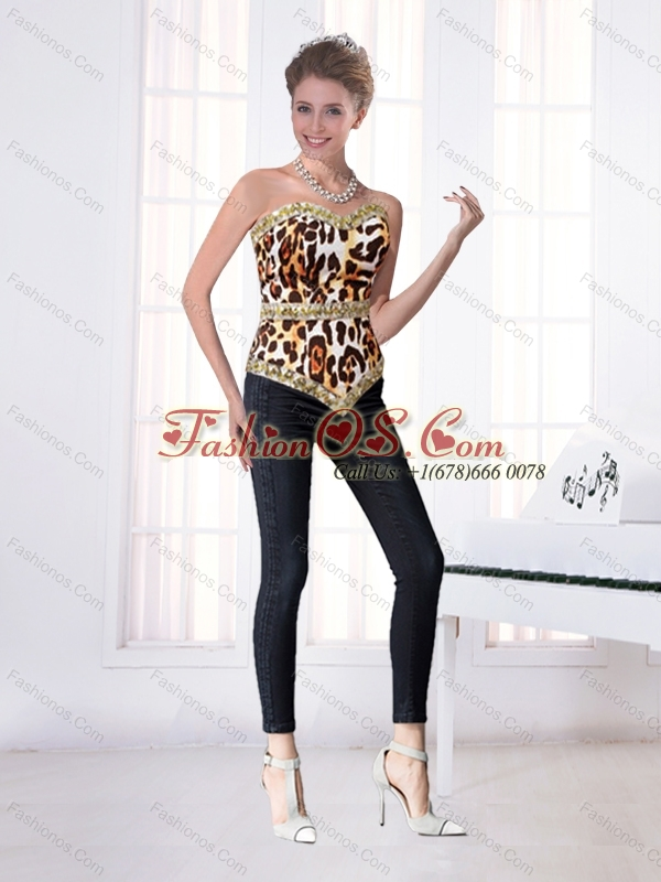 Dynamic Leopard Printed Sweetheart Beading Corset for 2015