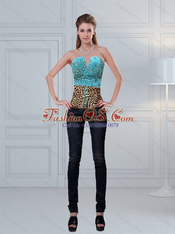 Leopard Printed Baby Blue Beading Perfect Corset for 2015