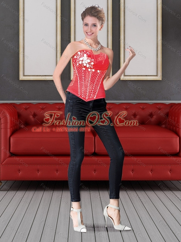 The Brand New Style Red Sweetheart Beading Corset for 2015