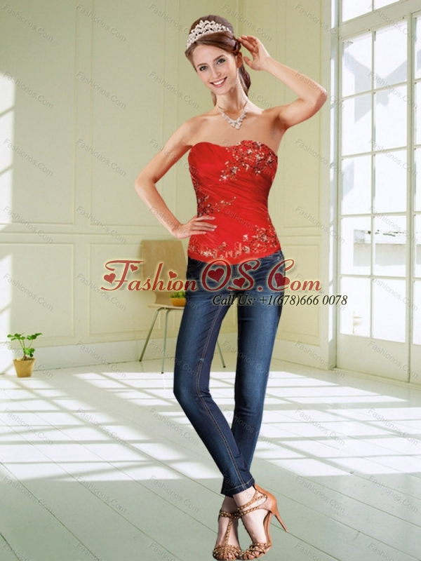 The Most Popular Red Strapless Corset with Beading
