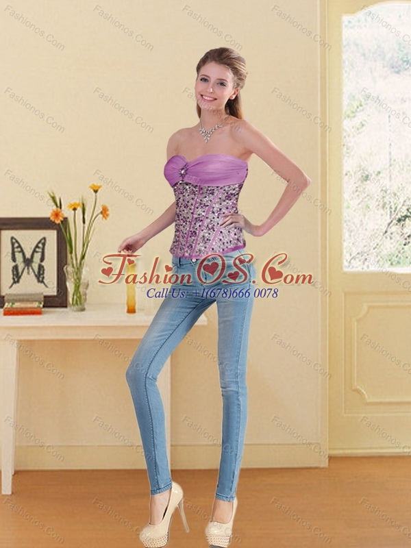 The Super Hot Lilac Sweetheart Corset with Beading